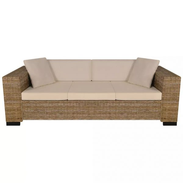 Eight Piece 3-Seater Sofa Set Real Rattan 3