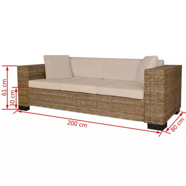 Eight Piece 3-Seater Sofa Set Real Rattan 4