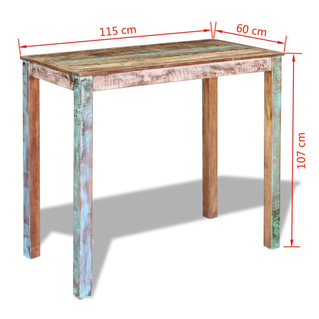 Bar Table Solid Reclaimed Wood 115x60x107 cm 8