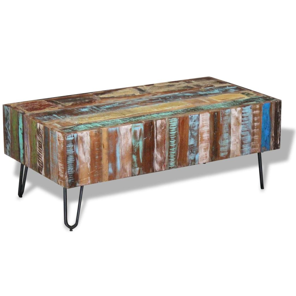 Coffee Table Solid Reclaimed Wood 100x50x38 cm