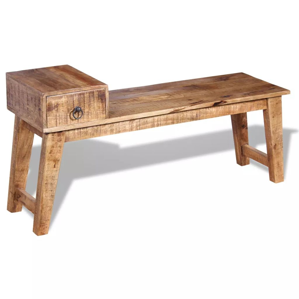 Bench with Drawer Solid Mango Wood 120x36x60 cm 2