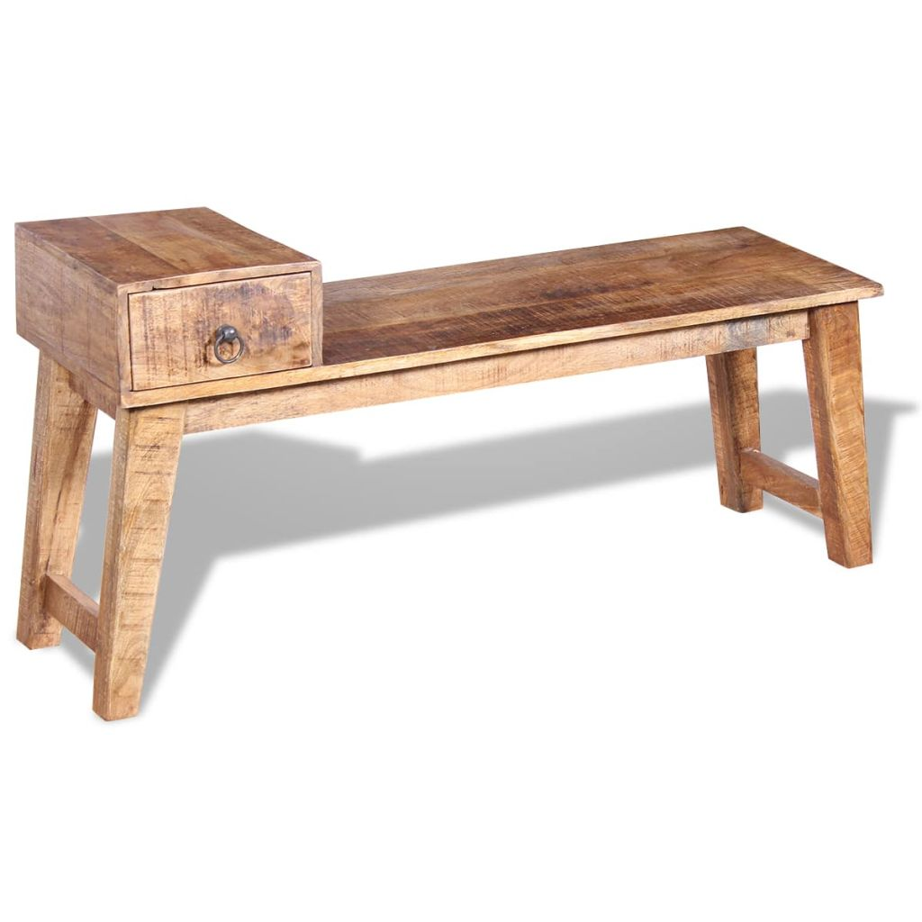 Bench with Drawer Solid Mango Wood 120x36x60 cm 3