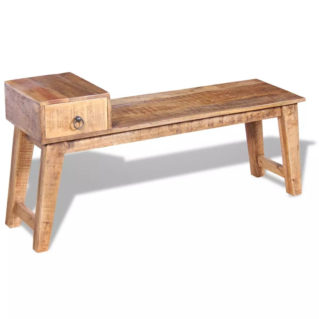 Bench with Drawer Solid Mango Wood 120x36x60 cm 4