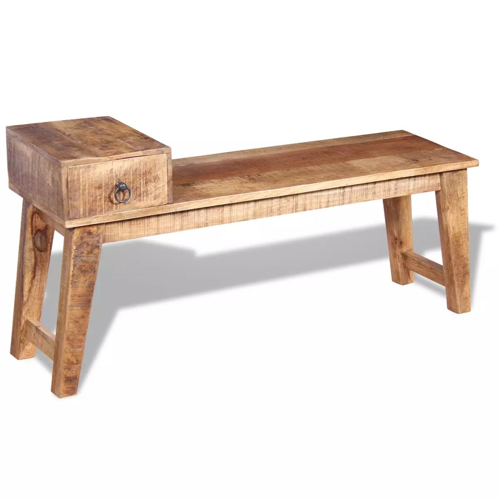 Bench with Drawer Solid Mango Wood 120x36x60 cm 5