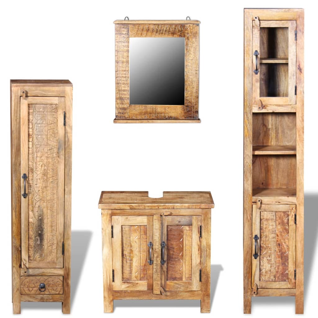 Vanity Cabinet with Mirror and 2 Side Cabinets Solid Mango Wood