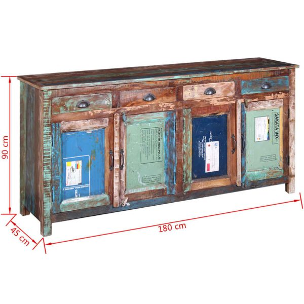 Sideboard with 4 Doors 4 Drawers Solid Reclaimed Wood 11