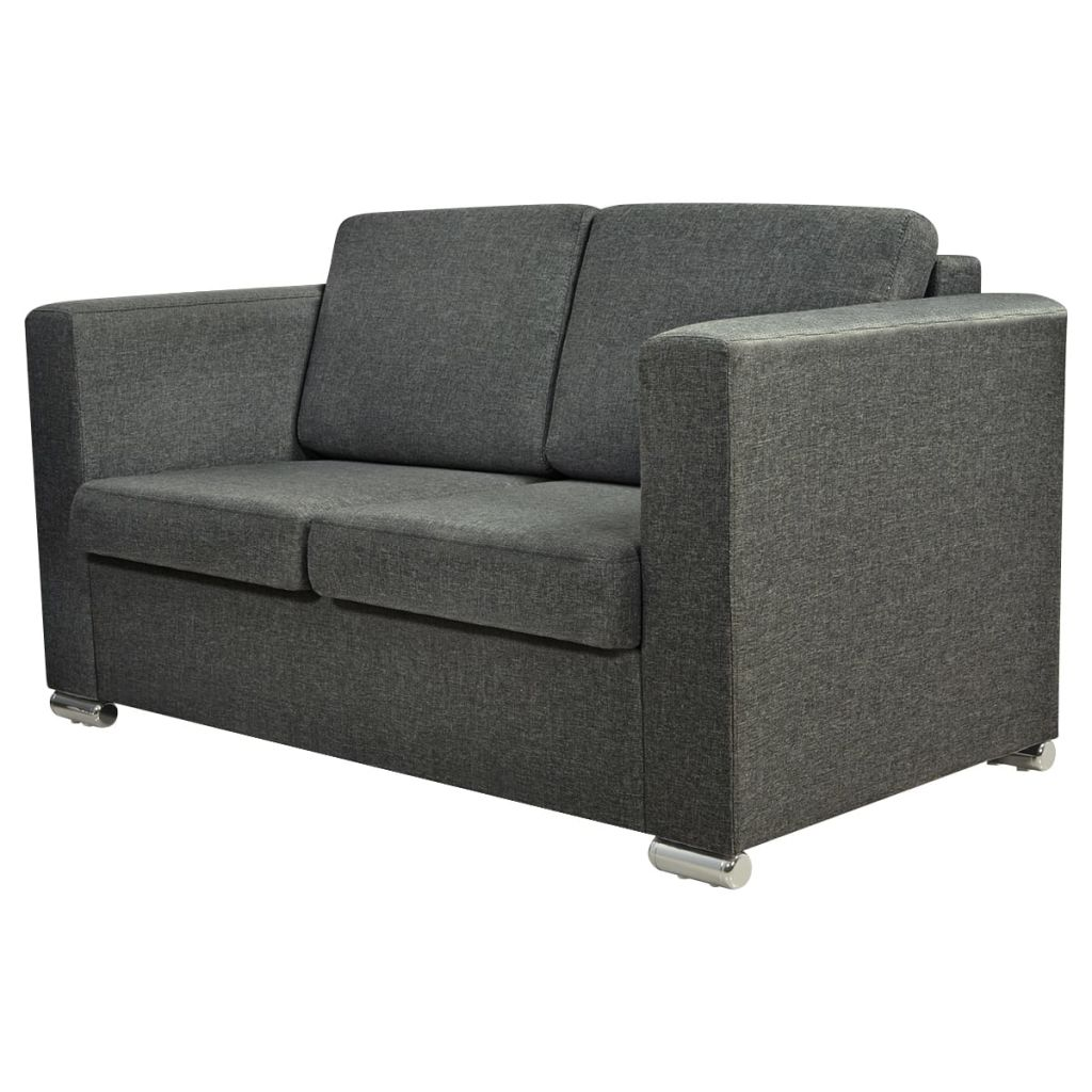 2-Seater Sofa Fabric Dark Grey 2