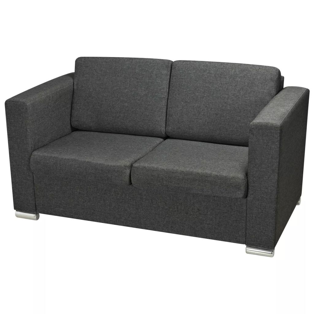 2-Seater Sofa Fabric Dark Grey 3