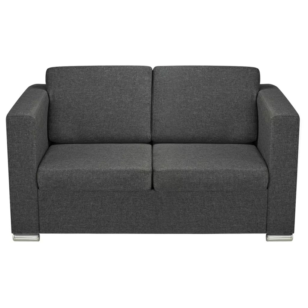 2-Seater Sofa Fabric Dark Grey 4