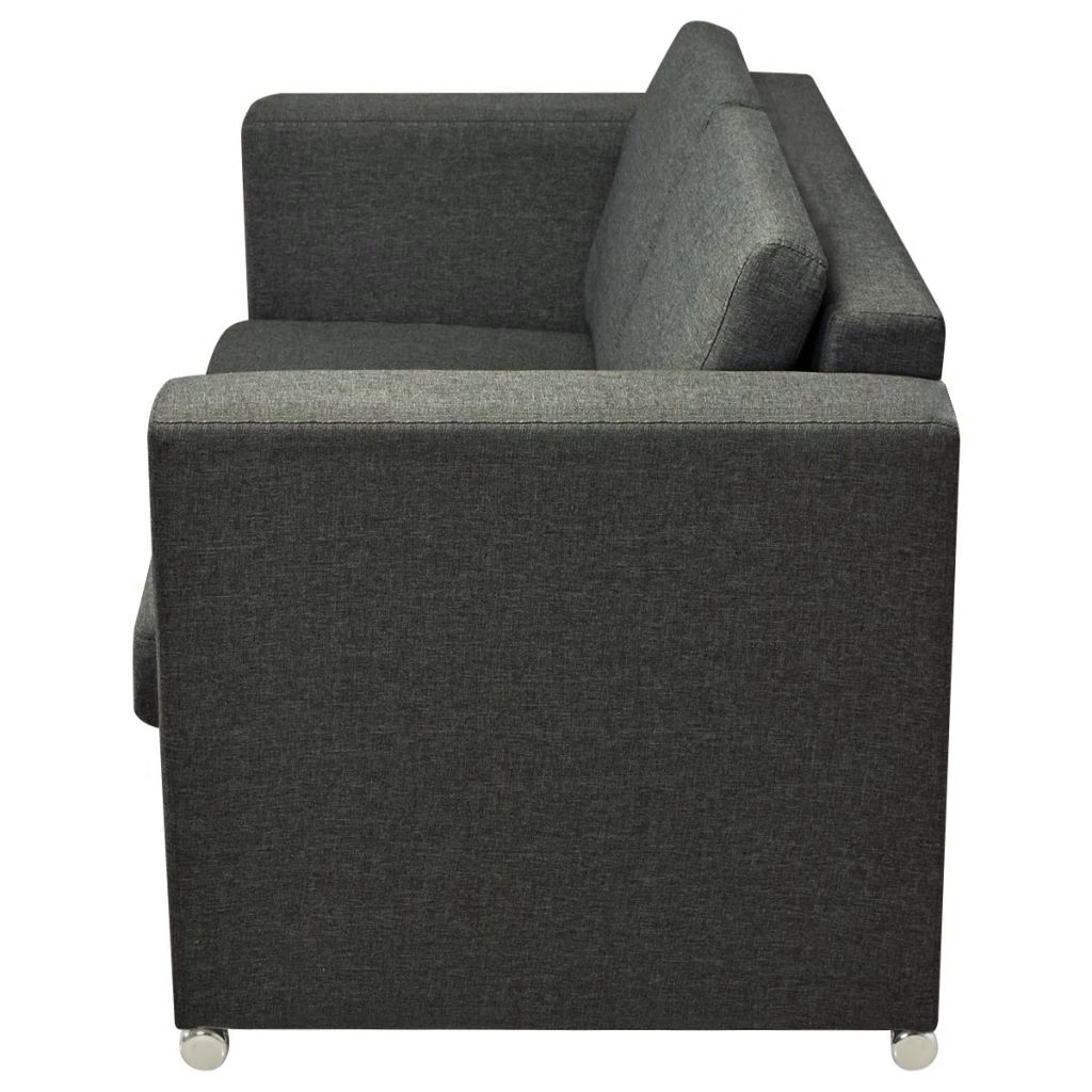 2-Seater Sofa Fabric Dark Grey 5