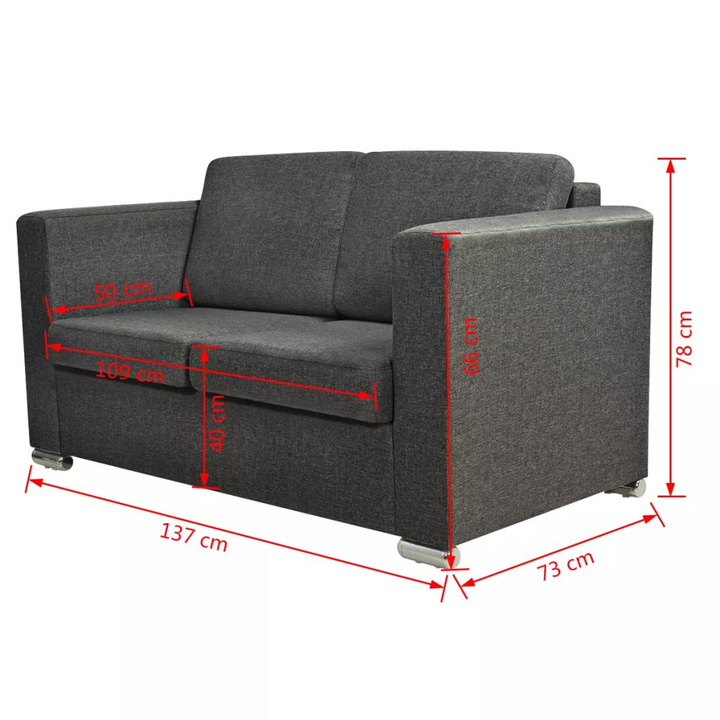 2-Seater Sofa Fabric Dark Grey 7