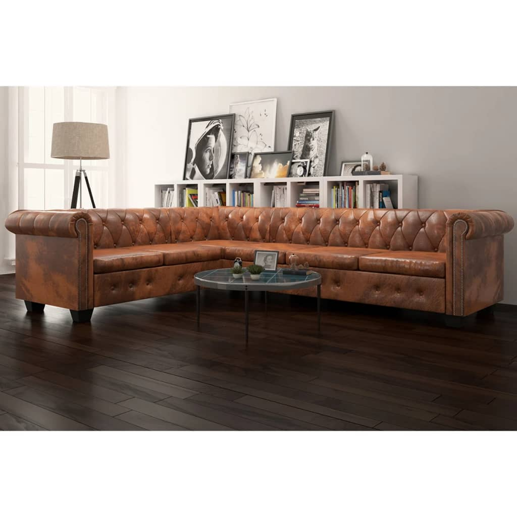 Chesterfield Corner Sofa 6-Seater Artificial Leather Brown
