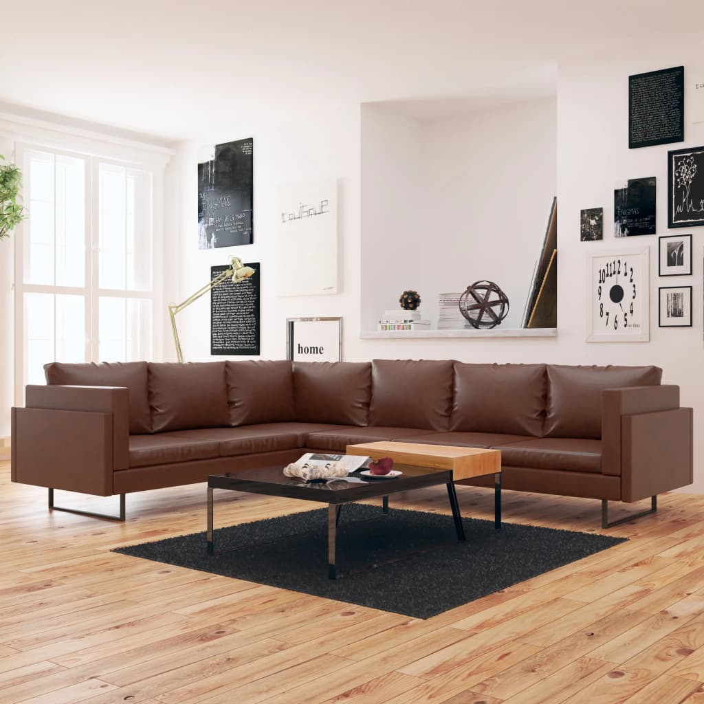 Corner Sofa Artificial Leather Brown