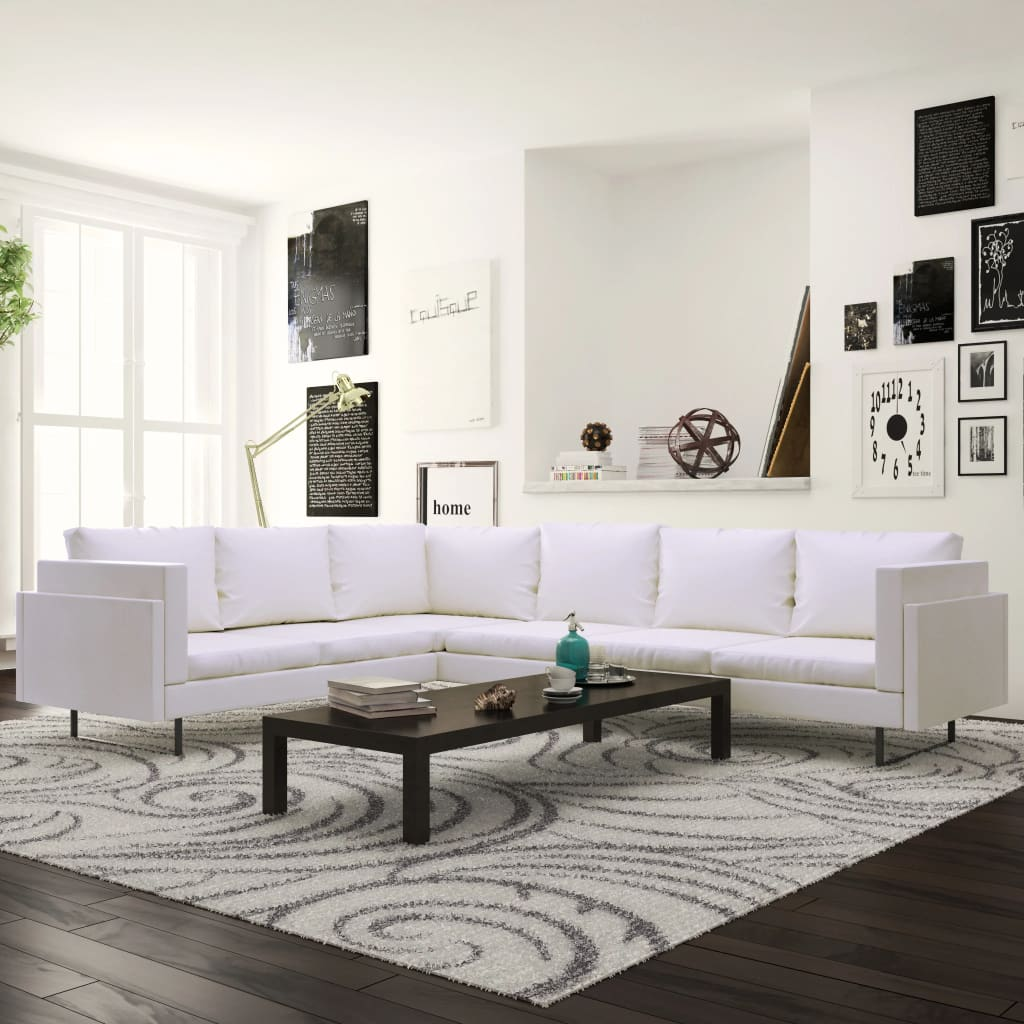 Corner Sofa Artificial Leather White