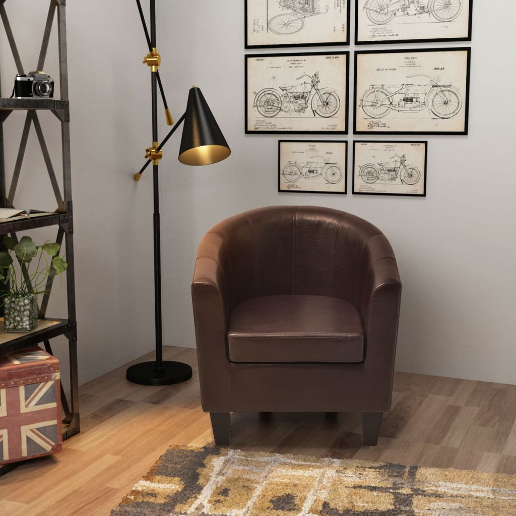 Armchair Brown Faux Leather