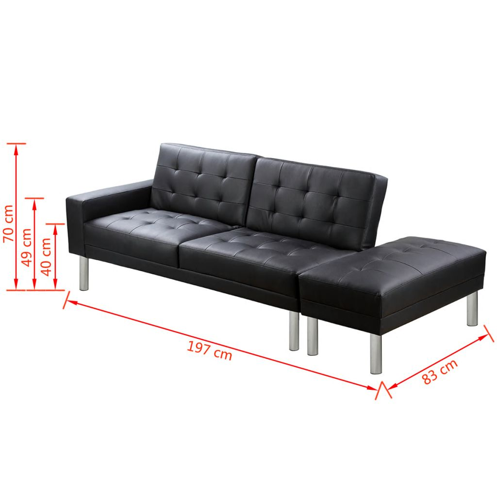 Sofa Bed Artificial Leather Black 10