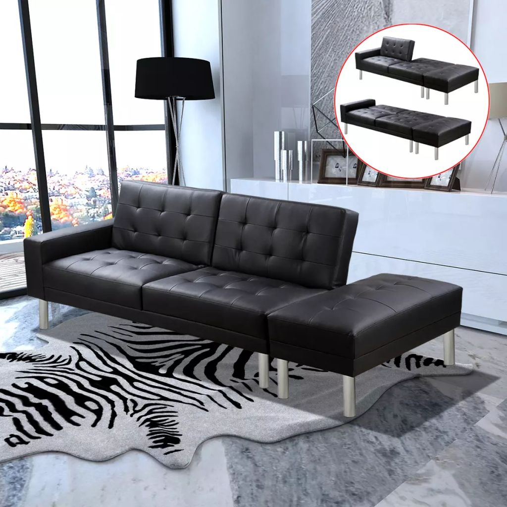 Sofa Bed Artificial Leather Black