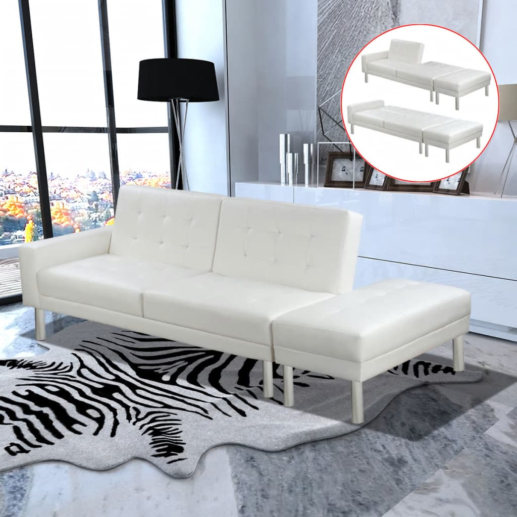 Sofa Bed Artificial Leather White