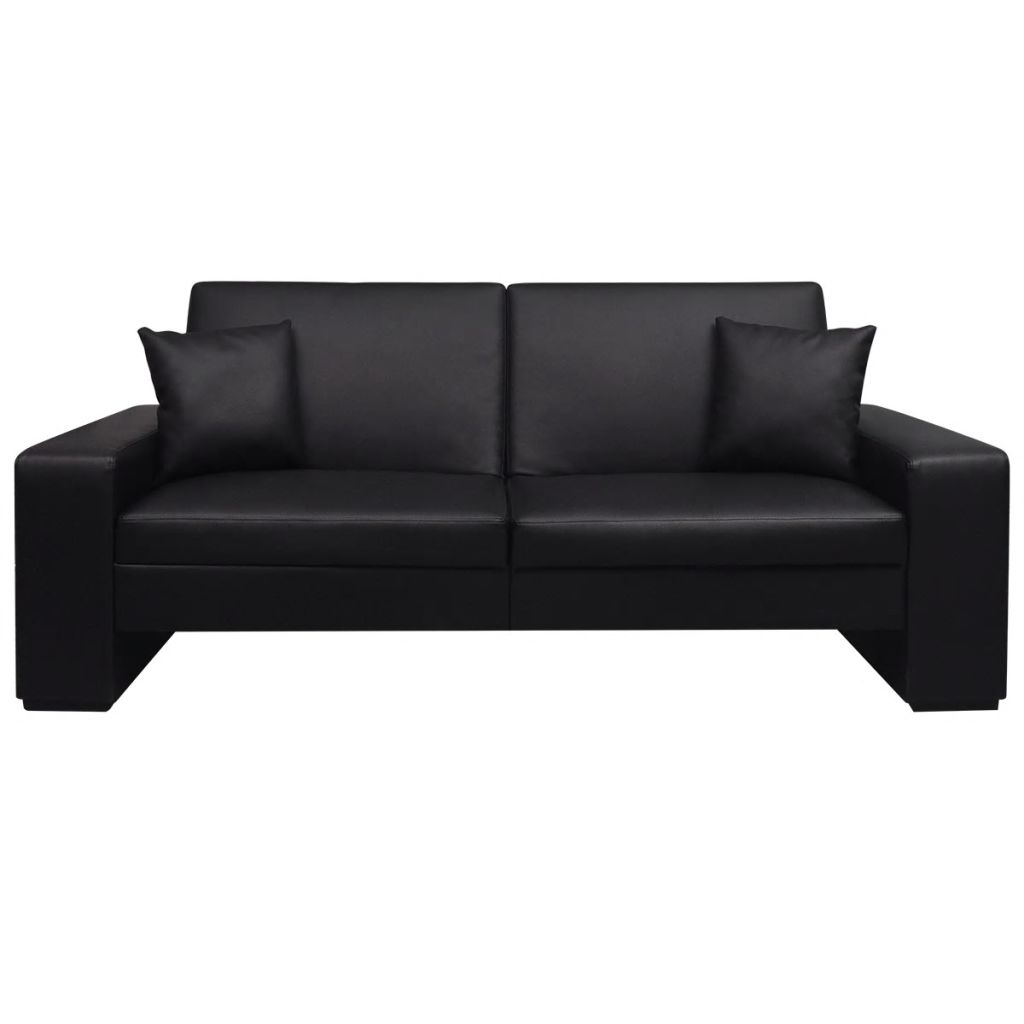 Sofa Bed Black Artificial Leather 3