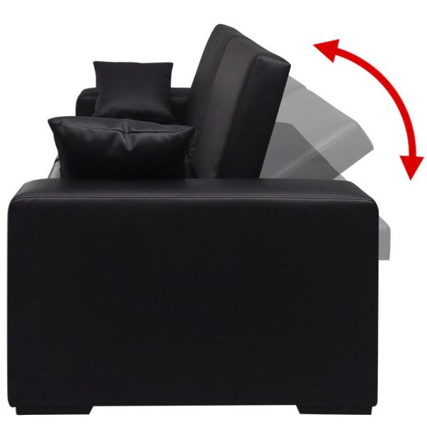 Sofa Bed Black Artificial Leather 4