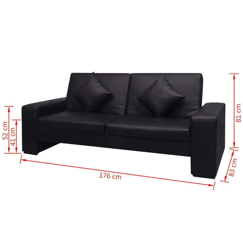 Sofa Bed Black Artificial Leather 7