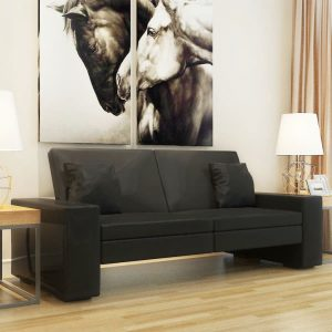 Sofa Bed Black Artificial Leather