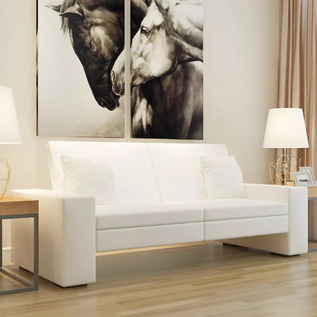 Sofa Bed White Artificial Leather
