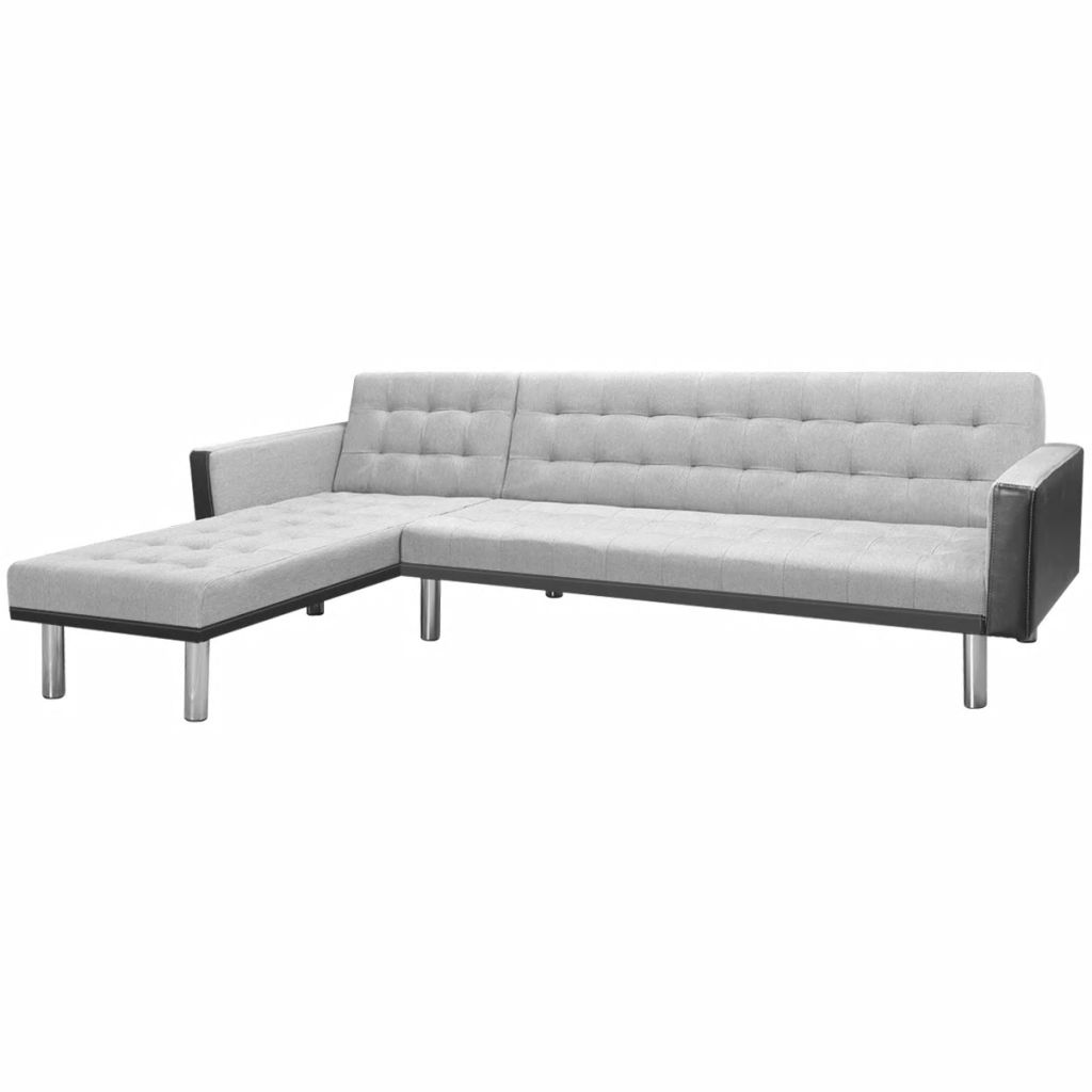 Corner Sofa Bed Fabric 218x155x69 cm Black and Grey