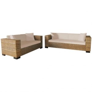 2-Seater and 3-Seater Sofa Set Real Rattan