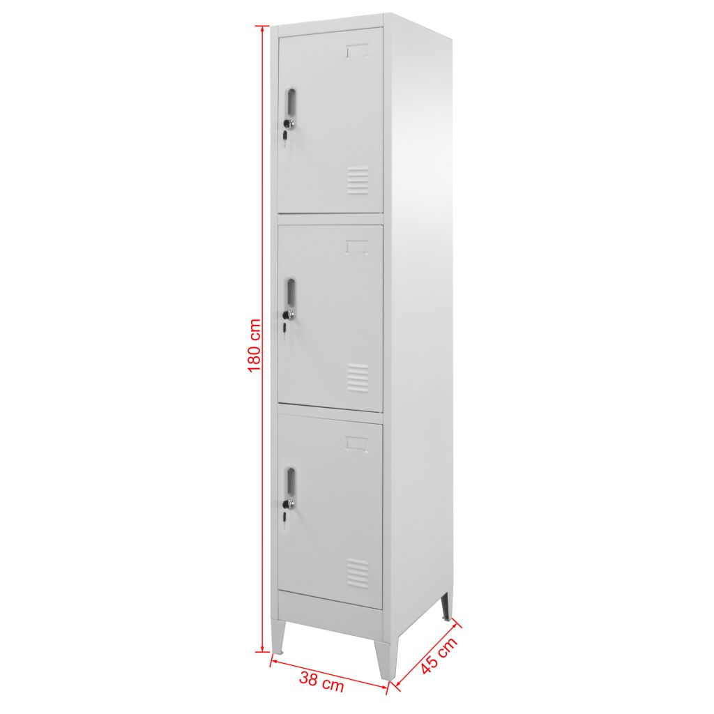 Locker Cabinet with 3 Compartments 38x45x180 cm 8