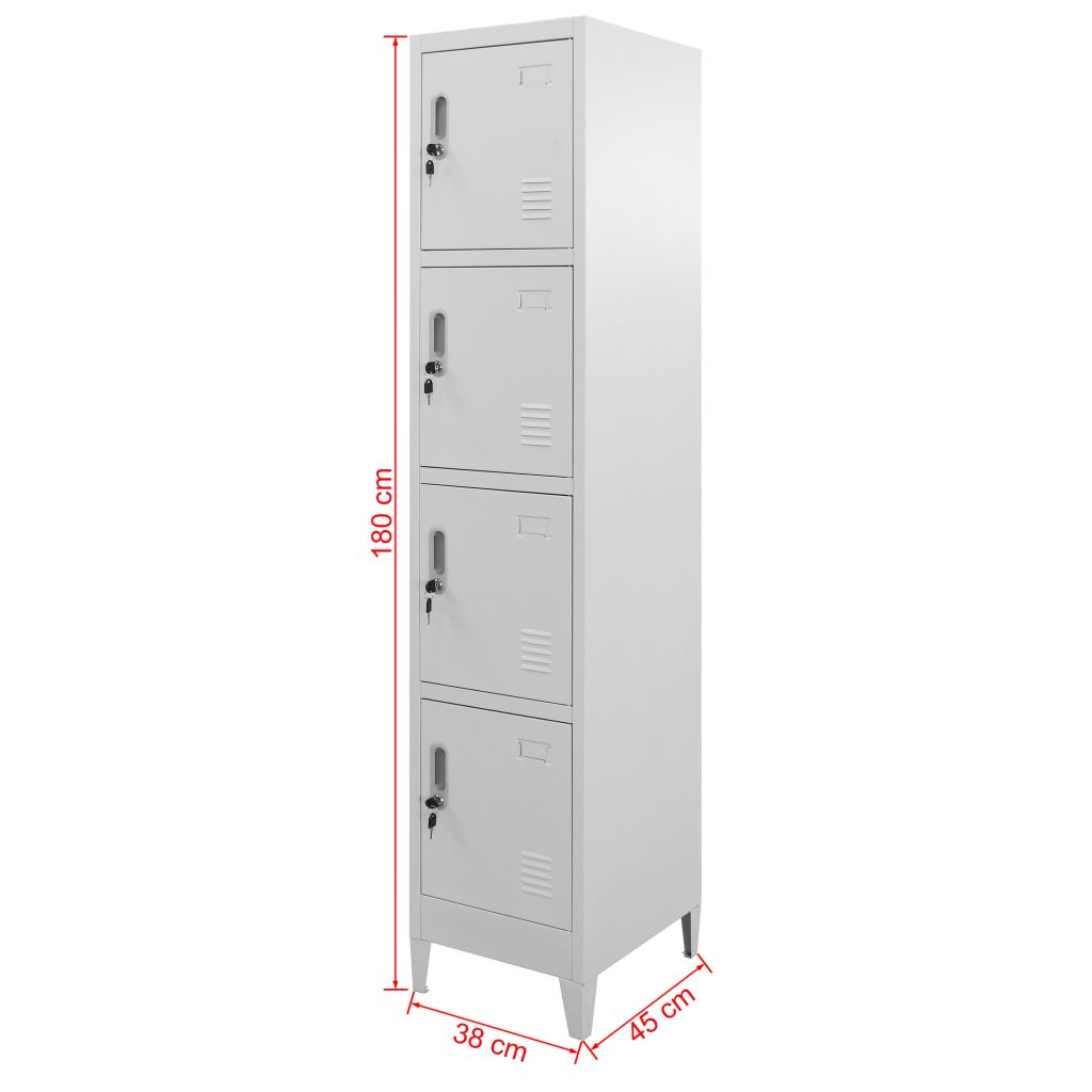 Locker Cabinet with 4 Compartments 38x45x180 cm 7