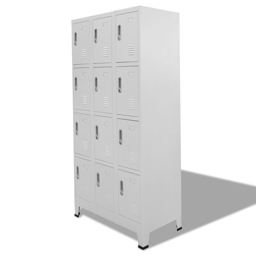 Locker Cabinet with 12 Compartments 90x45x180 cm 2