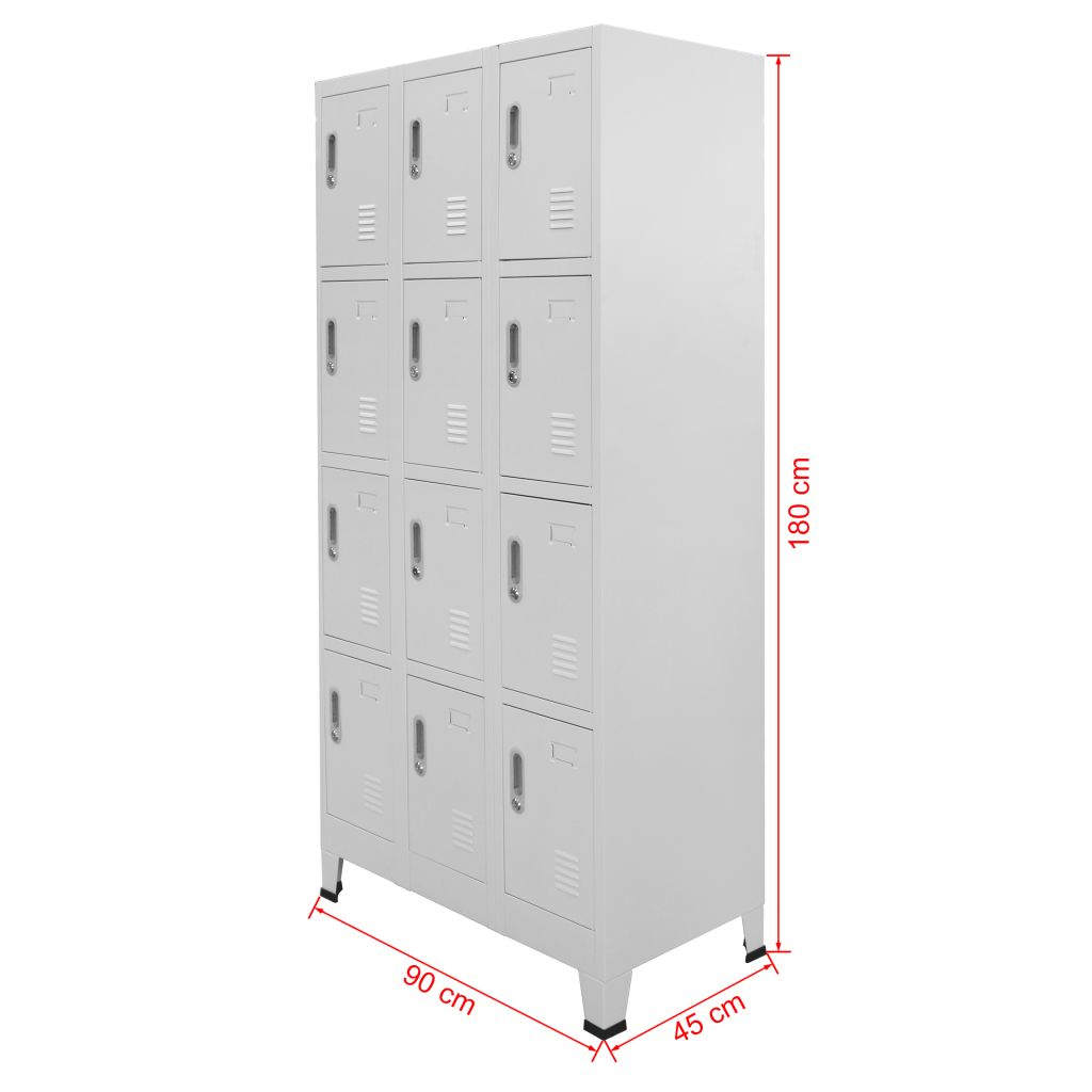 Locker Cabinet with 12 Compartments 90x45x180 cm 8