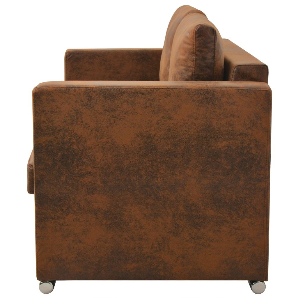 2-Seater Sofa 137x73x82 cm Artificial Suede Leather 3