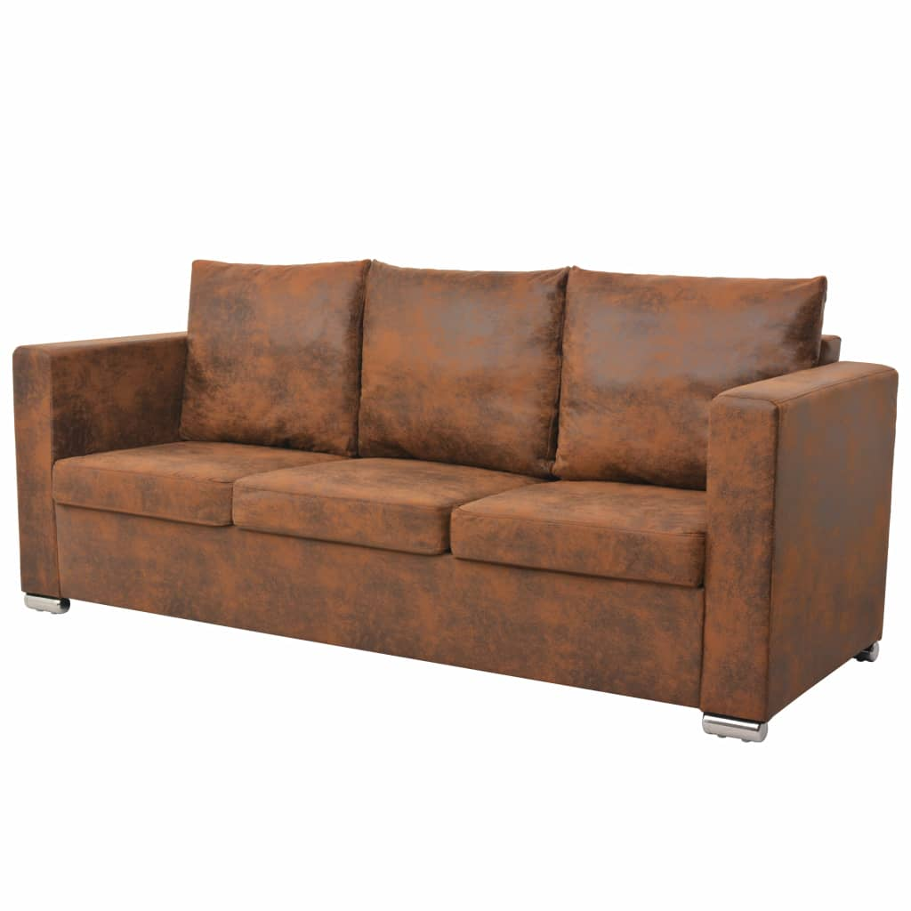 3-Seater Sofa 191x73x82 cm Artificial Suede Leather