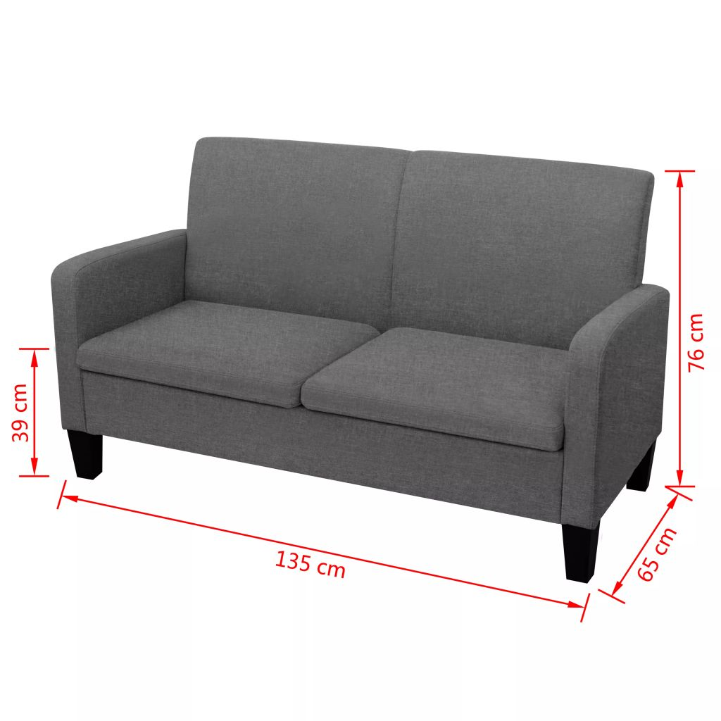 2-Seater Sofa 135x65x76 cm Dark Grey 4