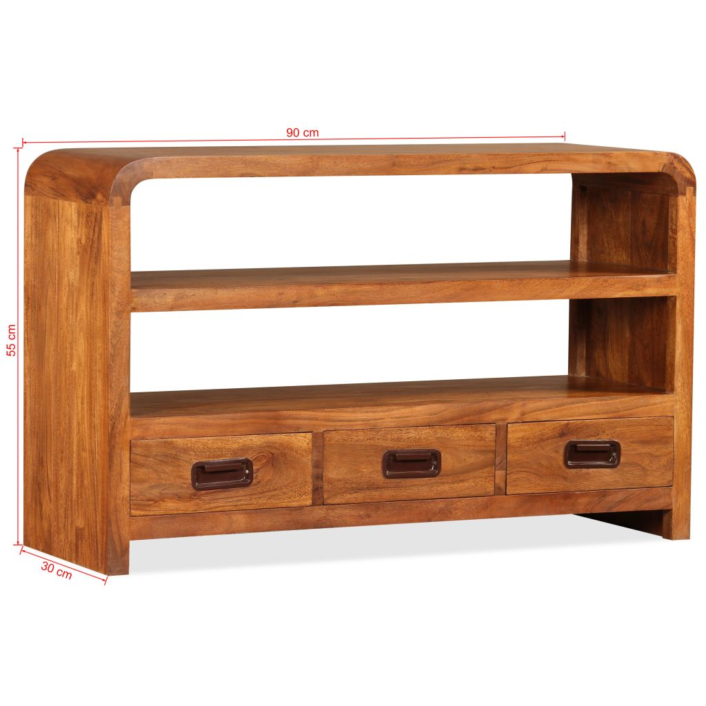 TV Cabinet 90x30x55 cm Solid Wood with Sheesham Finish 11
