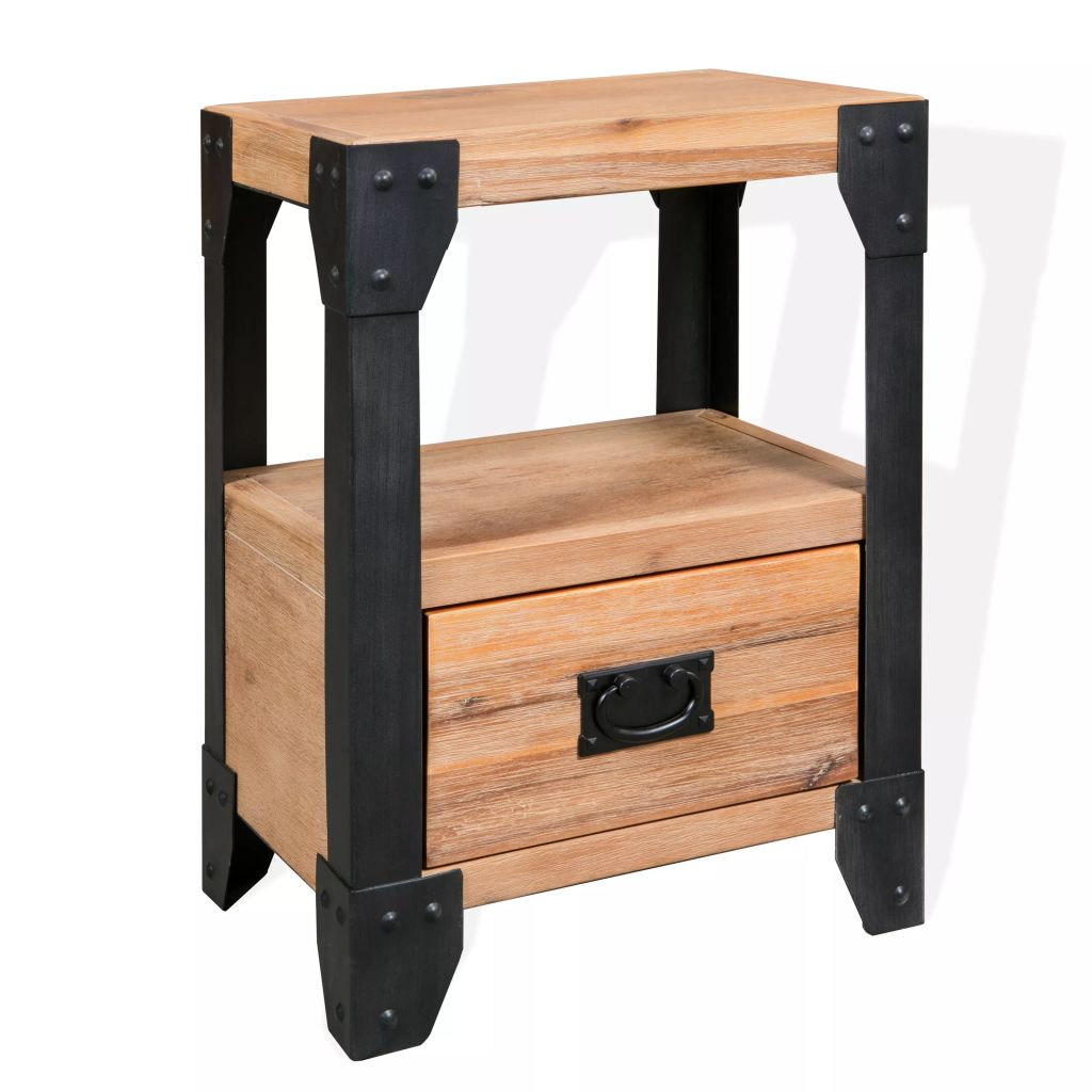 Nightstand Solid Acacia Wood Steel 40x30x54 cm