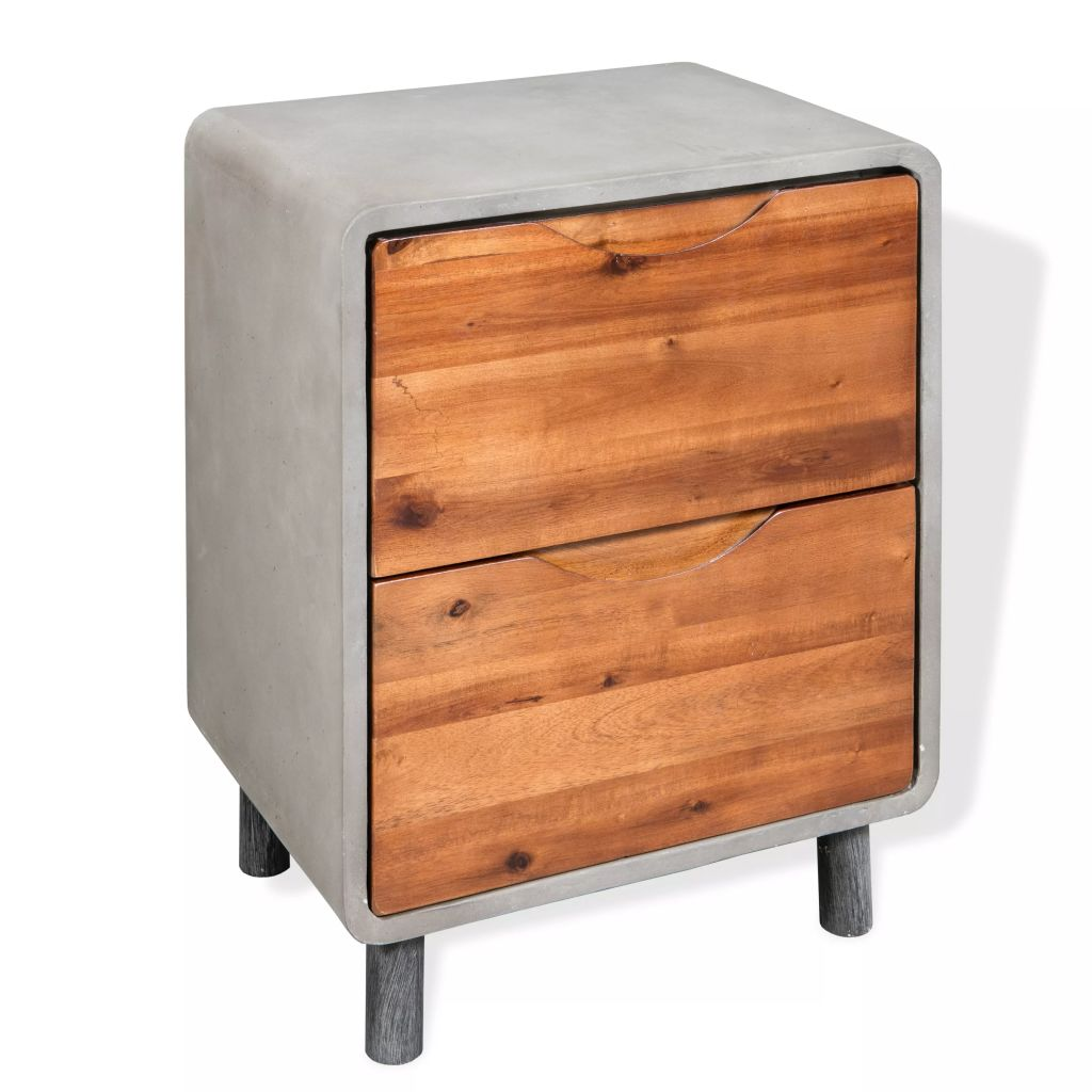 Nightstand Concrete Solid Acacia Wood 40x30x50 cm