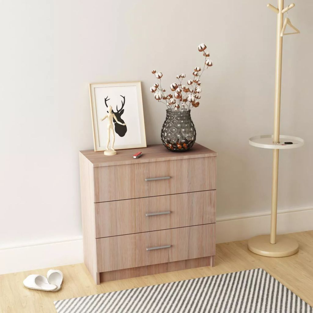 Chest of Drawers Chipboard 71x35x69 cm Oak