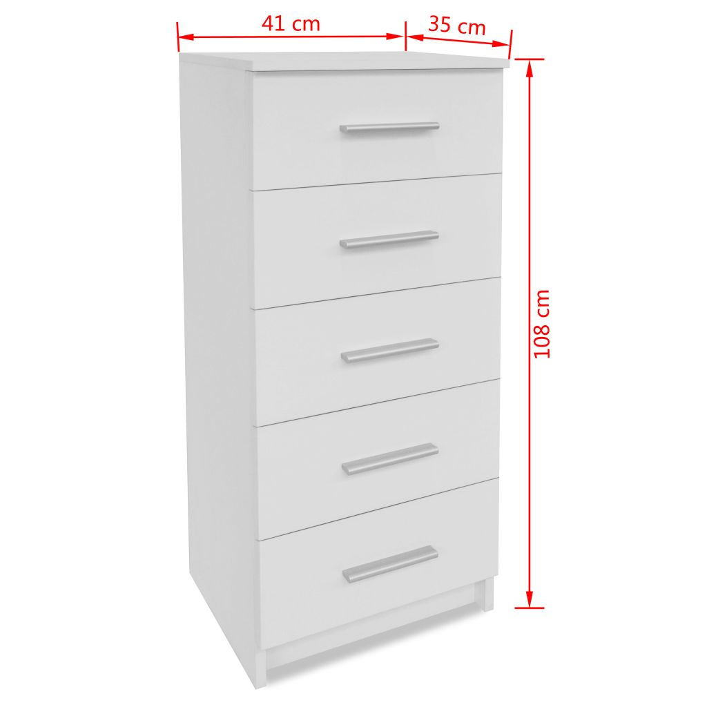 Tall Chest of Drawers Chipboard 41x35x108 cm White 6