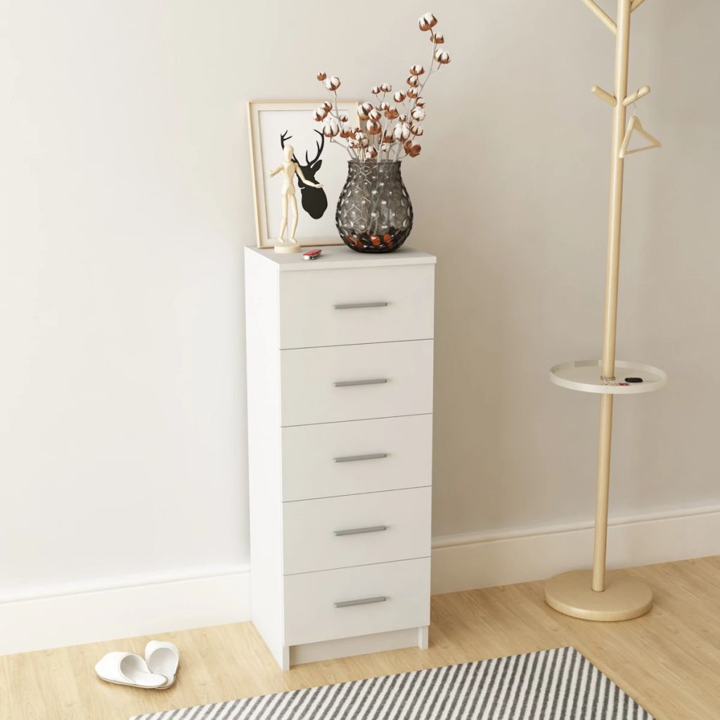 Tall Chest of Drawers Chipboard 41x35x108 cm White