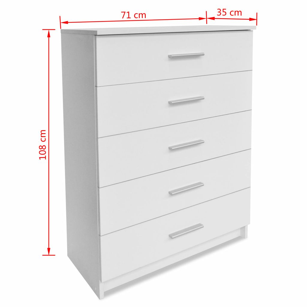 Storage Cabinet Chipboard 71x35x108 cm White 6