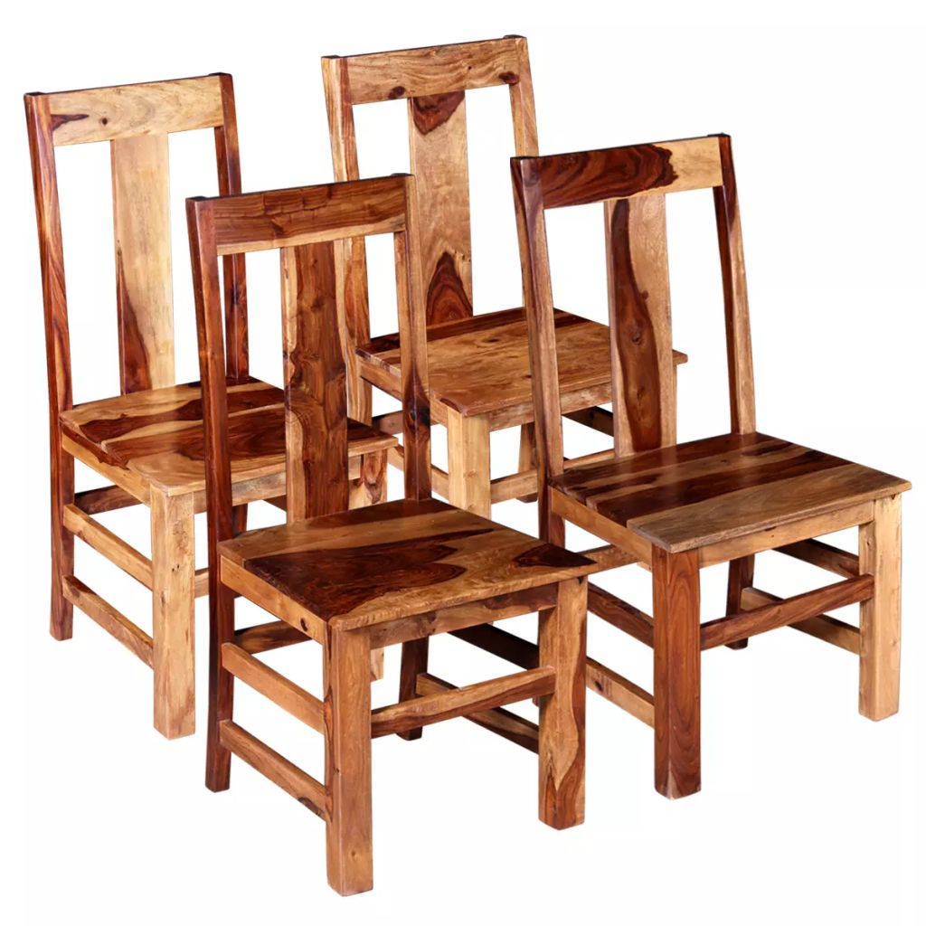 Dining Chairs 4 pcs Solid Sheesham Wood