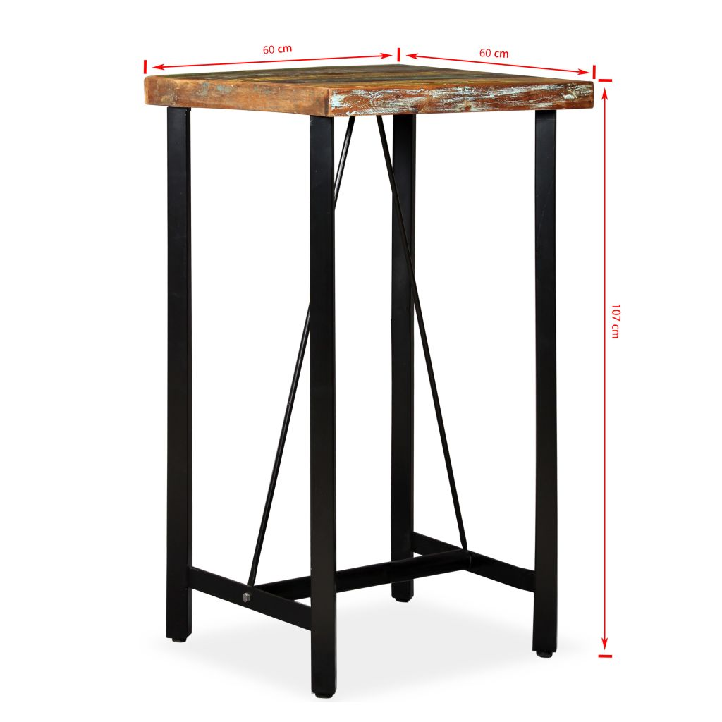 Bar Table 60x60x107 cm Solid Reclaimed Wood 11