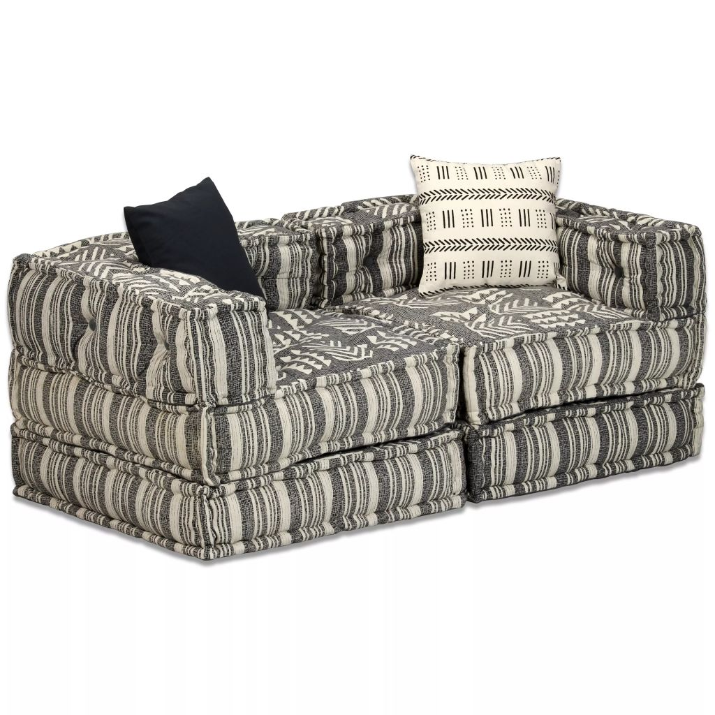 2-Seater Modular Sofa Bed Fabric Stripe