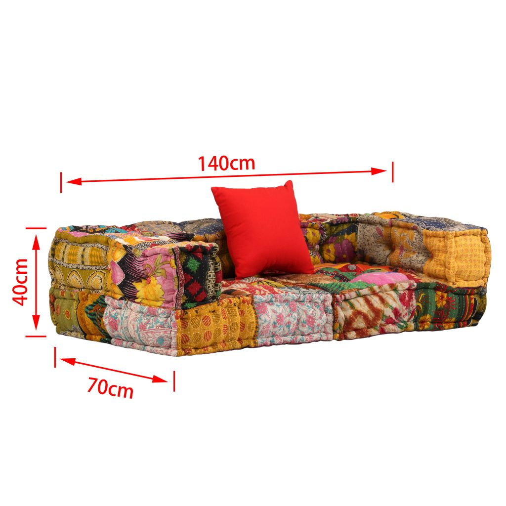 2-Seater Modular Sofa with Armrests Fabric Patchwork 9