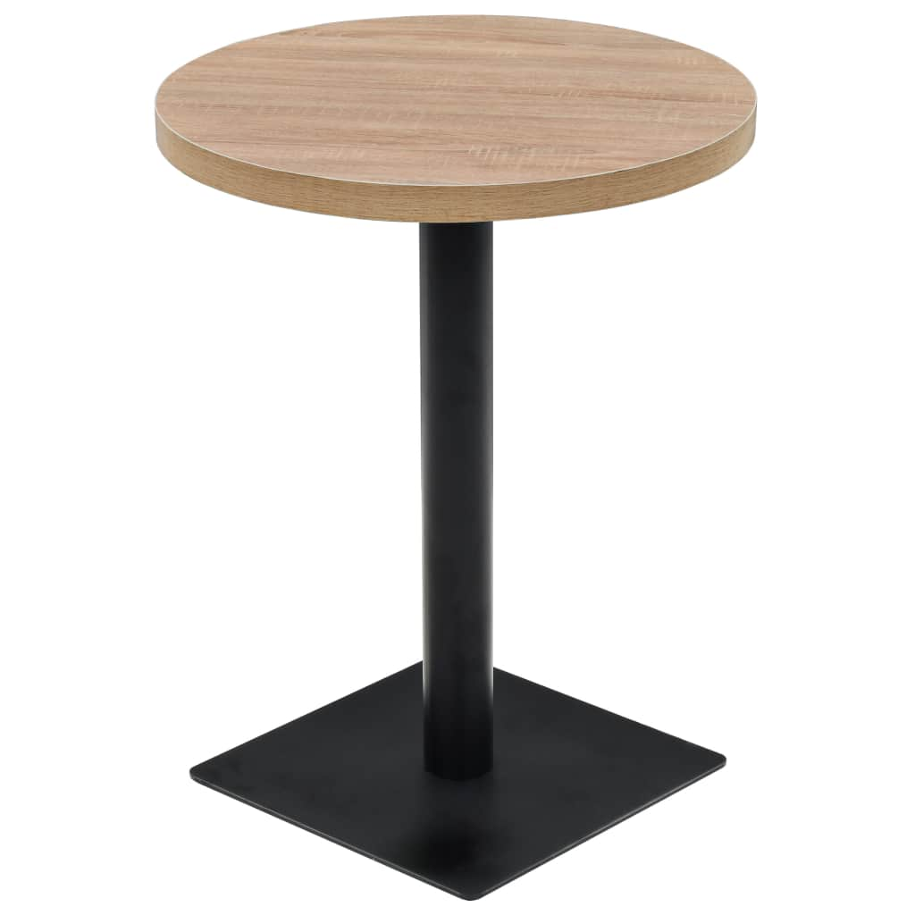 Bistro Table MDF and Steel Round 60×75 cm Oak Colour 1