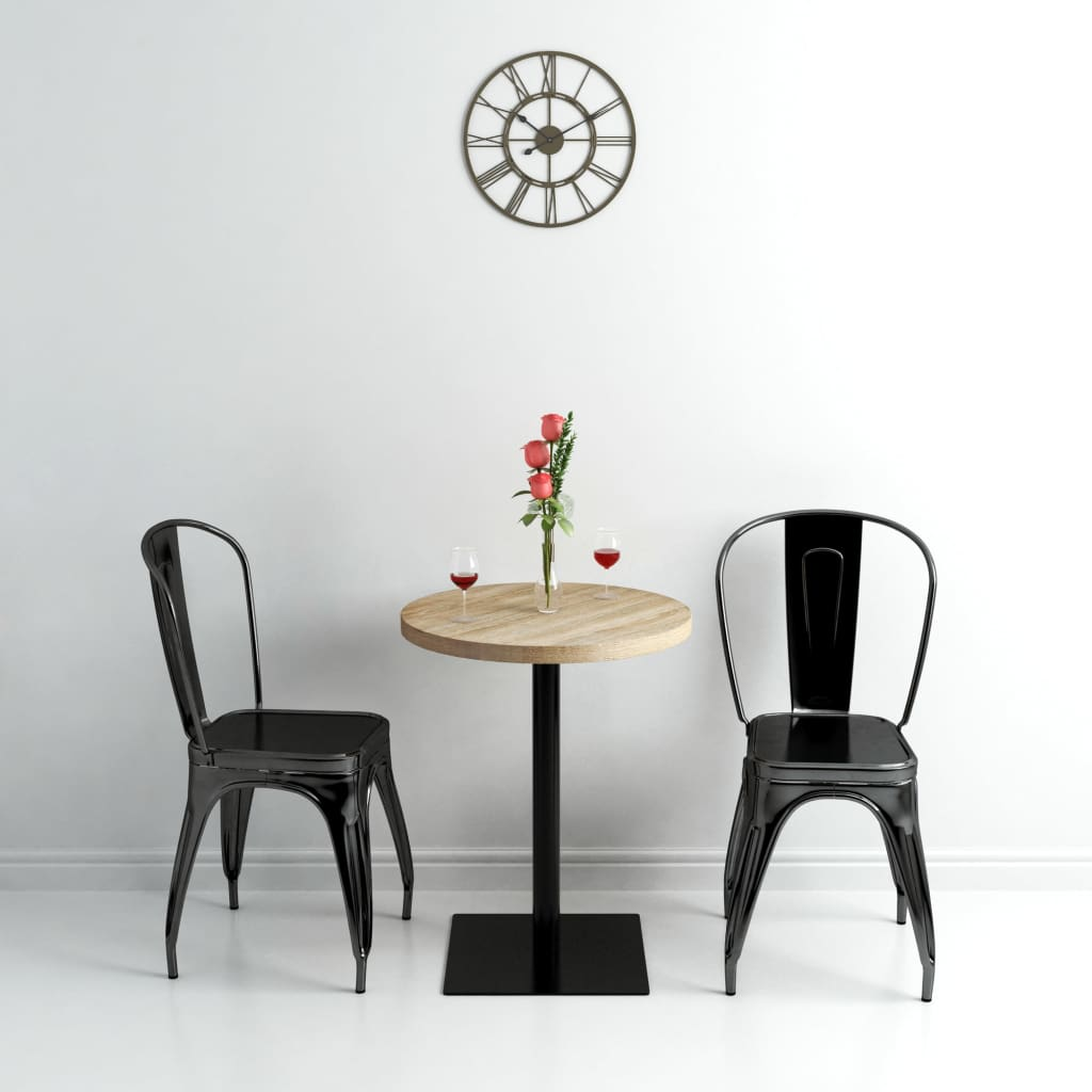 Bistro Table MDF and Steel Round 60×75 cm Oak Colour 2