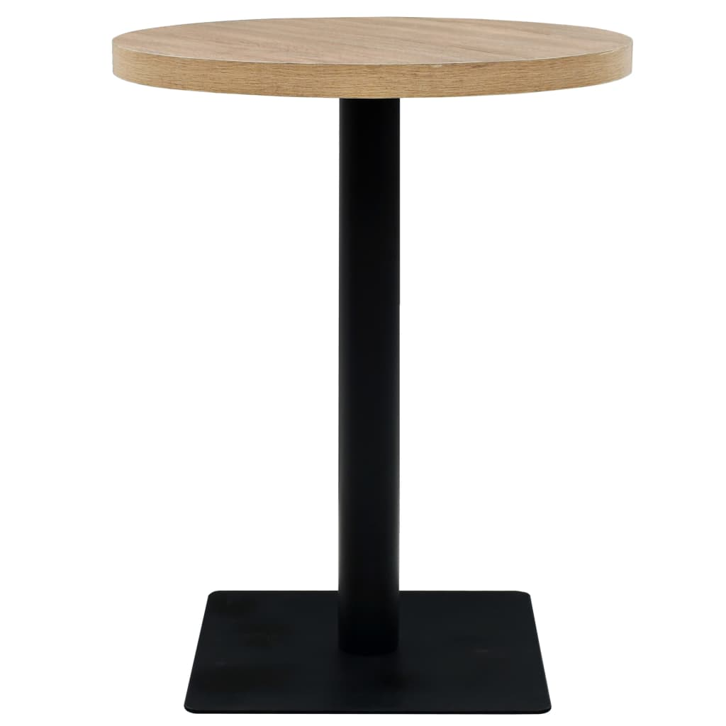 Bistro Table MDF and Steel Round 60×75 cm Oak Colour 3